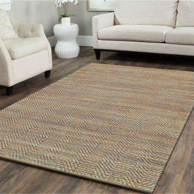 Chevron Natural Fiber Blue 5 ft. x 8 ft. Plush Indoor Area Rug