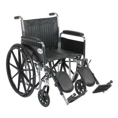 Chrome Sport Wheelchair with Detachable Full Arms and Elevating Leg Rests