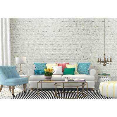 """24"""" x 24"""" Ledge Stone Decorative Vinyl Wall Paneling in White (6-Pieces)"""