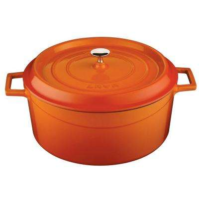 Signature 7 Qt. Enameled Cast Iron Round Dutch Oven in Orange Spice