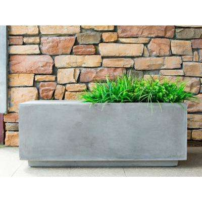 37.4 in. x 14.6 in. x 14.6 in. Light Gray Concrete Light Grey Square Planter and Garden Bench