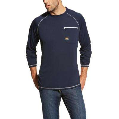 Men's Navy Rebar Sunstopper Long Sleeve Work Shirt