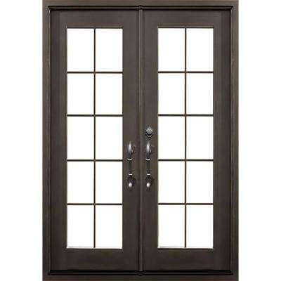 64 in. x 82 in. Key Largo Dark Bronze Classic Full Lite Painted Wrought Iron Prehung Front Door (Hardware Included)