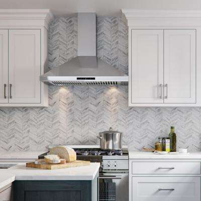30 in. Wall Mount Range Hood in Stainless Steel w/ Professional Baffle Filters, LED lights, Digital Touch Screen Control