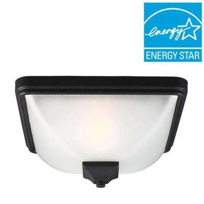 Irving Park 1-Light Outdoor Black Fluorescent Ceiling Flushmount with Satin Etched Glass