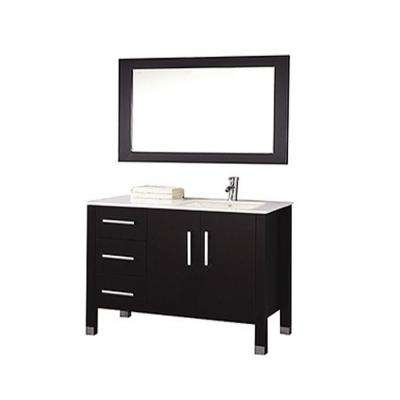 Monaco 40 in. W x 22 in. D x 36 in. H Vanity in Espresso with Vanity Top in White, White Right Offset Basin and Mirror