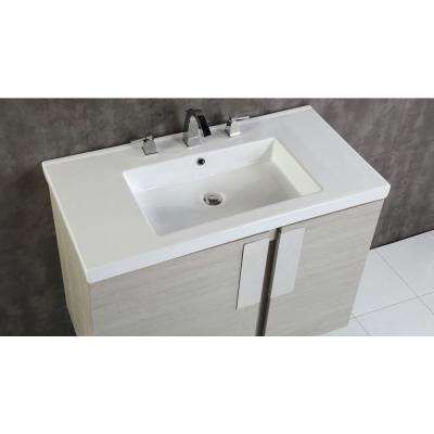 Carmel 36 in. W x 19 in. D x 26 in. H Single Vanity in Gray Pine with Ceramic Vanity Top in White with White Basin