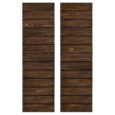 Cedar Board and Batten Horizontal Slat Shutters Pair