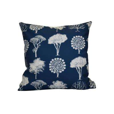 16 in. x 16 in. Field of Trees, Floral Print Pillow, Blue