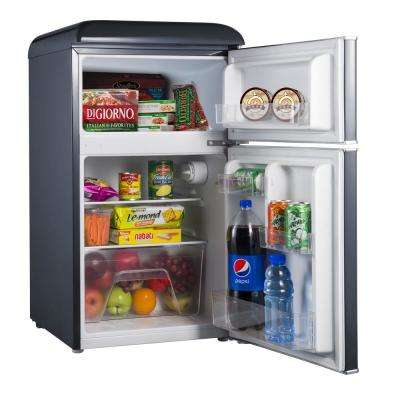 3.1 cu. ft. Retro Mini Fridge with Dual Door True Freezer in Black