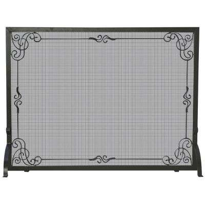 Black Wrought Iron Single-Panel Fireplace Screen with Decorative Scroll
