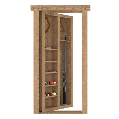 36 in. x 80 in. Flush Mount Assembled Pool Cue Door Oak Medium Stained Right Hand In Swing