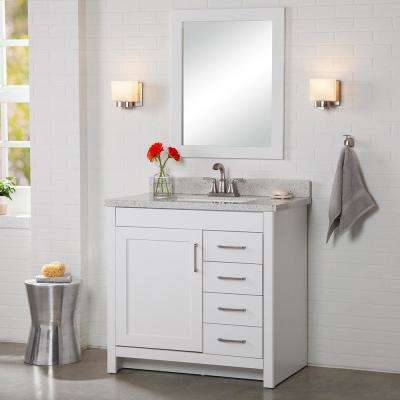 Westcourt 37 in. W x 22 in. D Bath Vanity in White with Solid Surface Vanity Top in Silver Ash with White Sink
