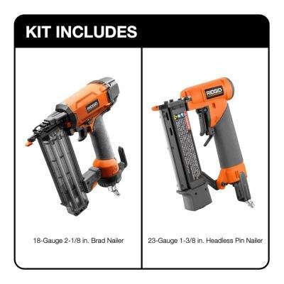 18-Gauge 2-1/8 in. Brad Nailer and 23-Gauge 1-3/8 in. Headless Pin Nailer 2-Tool Combo