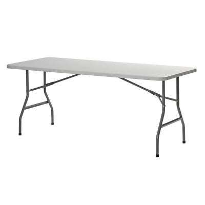 2.5 ft. L x 6 ft. W Plastic Folding Table in White