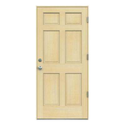 6-Panel Unfinished Hemlock Prehung Front Door with Unfinished AuraLast Jamb