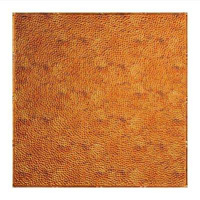 Hammered - 2 ft. x 2 ft. Lay-in Ceiling Tile in Muted Gold