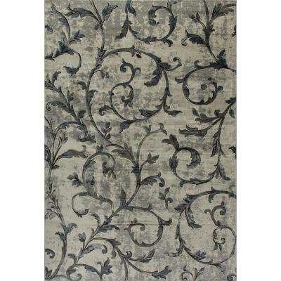 Royal Treasure Soft Blue/Mocha 6 ft. 7 in. x 9 ft. 6 in. Indoor Area Rug