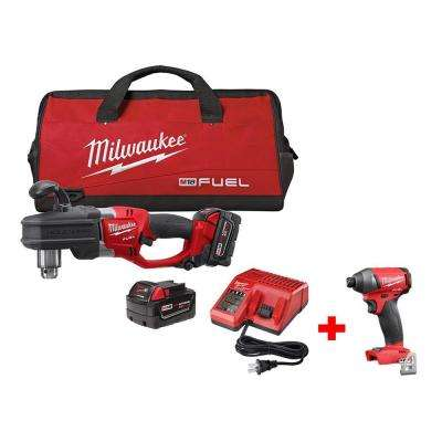 M18 FUEL 18-Volt Lithium-Ion Brushless Hole Hawg 1/2 in. Right Angle Drill Kit Free M18 FUEL 1/4 in. Hex Impact Driver
