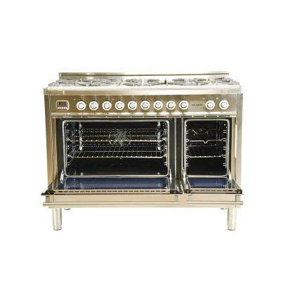 48 in. 5.0 cu. ft. Double Oven Dual Fuel Italian Range with True Convection 7-Burners and Griddle in Stainless Steel
