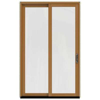 59.25 in.x95.5 in. W-2500 French Vanilla Prehung Right-Hand Sliding 1 Lite Pine Patio Door with Stain Fruitwood Interior