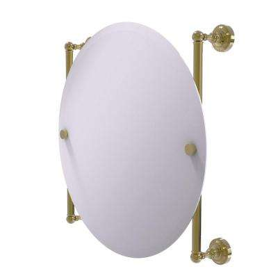 Dottingham Collection Round Frameless Rail Mounted Mirror in Unlacquered Brass