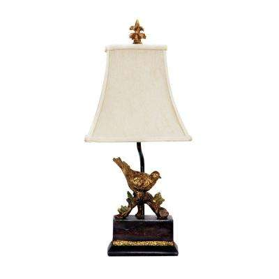 Perching Robin 21 in. Gold Leaf and Black Table Lamp