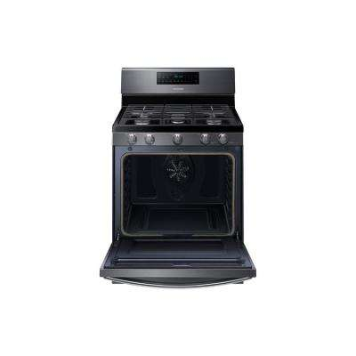 30 in. 5.8 cu. ft. Gas Range with Self-Cleaning and Fan Convection Oven in Fingerprint Resistant Black Stainless