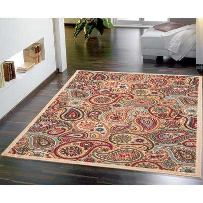 Ottohome Collection Contemporary Paisley Design Beige 3 ft. 3 in. x 5 ft. Area Rug