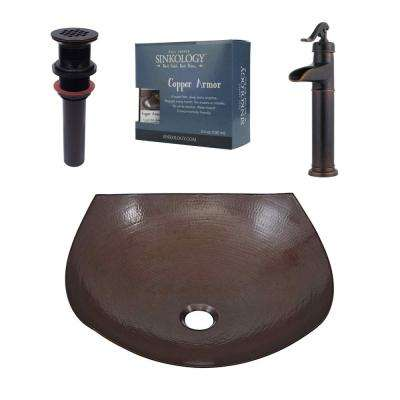 Pfister All-In-One Copper Vessel Sink Lovelace Design Kit with Ashfield Rustic Bronze Vessel Faucet