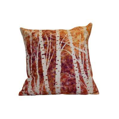 16 in. x 16 in. Birch Trees, Floral Print Pillow, White