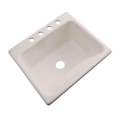 Kensington Drop-In Acrylic 25 in. 4-Hole Single Bowl Utility Sink in Shell
