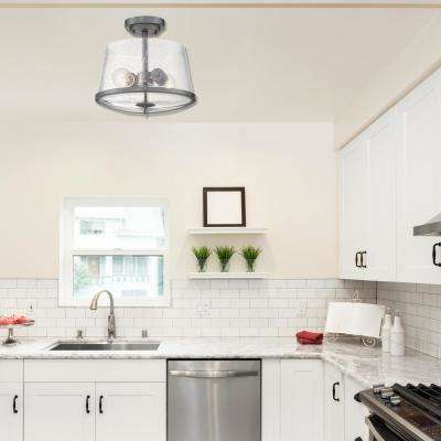 Darby 2-Light Weathered Iron Semi Flush Mount