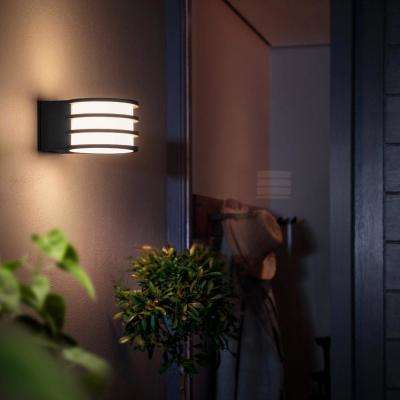 White Lucca Black Outdoor LED Wall Lantern Sconce with Wireless A19 Smart Light Bulb