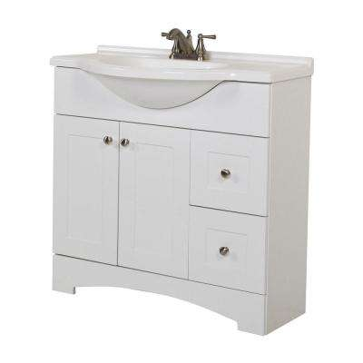Del Mar 37 in. W x 36 in. H x 19 in. D Bathroom Vanity in White with Cultured Marble White Vanity Top