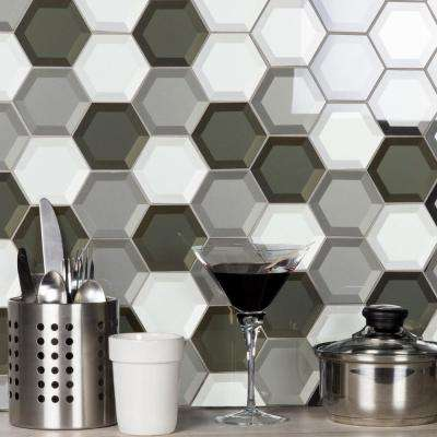 Forever Warm Gray Beveled Hexagon Mosaic 3 in. x 3 in. Glass Mesh Mounted Decorative Wall Tile (0.7 Sq. ft.)