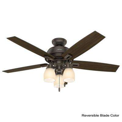 Donegan 52 in. LED Indoor Onyx Bengal Ceiling Fan with 3-Light bundled with Handheld Remote Control