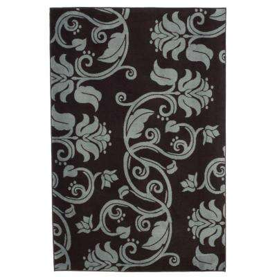 Floral Scroll Brown 5 ft. x 7 ft. 7 in. Area Rug