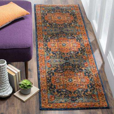 Evoke Blue/Orange 2 ft. 2 in. x 21 ft. Runner Rug