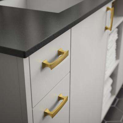 Modern Luxe 3-3/4 in. (96 mm) Brushed Brass Drawer Pull
