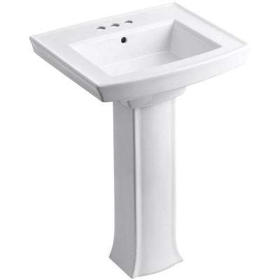 Archer Vitreous China Pedestal Combo Bathroom Sink in White with Overflow Drain