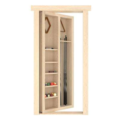 32 in. x 80 in. Flush Mount Assembled Pool Cue Door Maple Unfinished Right-Hand Inswing