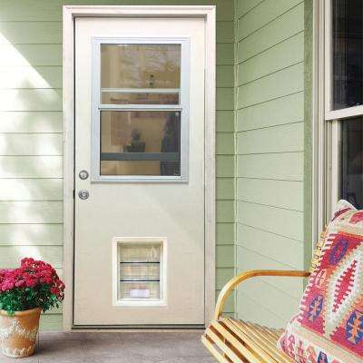 32 in. x 80 in. Classic Clear Vented Half Lite RHIS White Primed Fiberglass Prehung Front Door with XL Pet Door