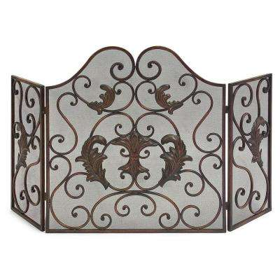 Lenor Bronze Wrought Iron 3-Panel Fireplace Screen