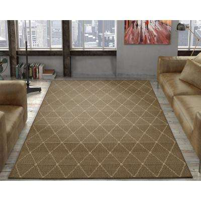Jardin Collection Contemporary Trellis Design Brown 5 ft. x 7 ft. Outdoor Area Rug