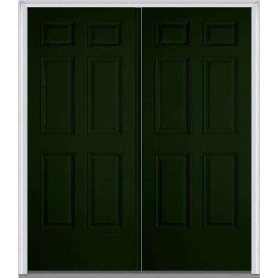 60 in. x 80 in. Right-Hand Inswing 6-Panel Classic Painted Fiberglass Smooth Prehung Front Door