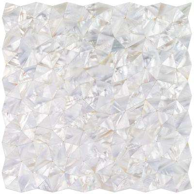 Lokahi White Troika Pearl Shell Mosaic Tile - 3 in. x 6 in. Tile Sample