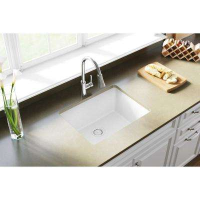 Quartz Classic Undermount Composite 25 in. Single Bowl Kitchen Sink in White