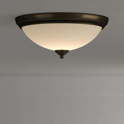 Pavilion Collection 15 in. 2-Light Antique Bronze Flush Mount with Etched Watermark Glass Bowl