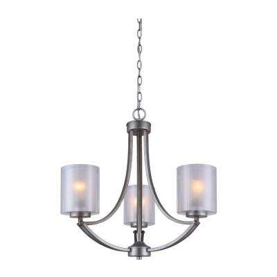 Bay 3-Light Historic Gold Chandelier with Clear and Frosted Double Glass